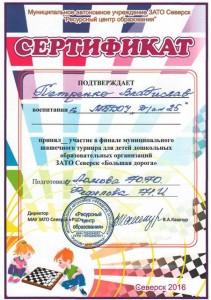 Сертификат за турнир Большая дорога (шашки)